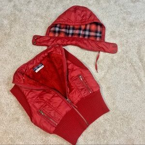 NWT Free People Red Puffer Vest w/ Detachable Hood